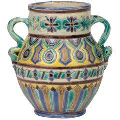 Twin Handled Mediterranean Attributed Art Pottery Vase