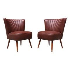 Twin Italian Small Dark Burgundy Leatherette and Beech Armchairs, 1960s