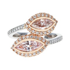 Twin Marquise Pink Diamond Ring Accented with Pink and White Round Diamonds