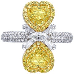 Twin Mirror Heart Canary Yellow Diamond Ring, 2.91 Carat