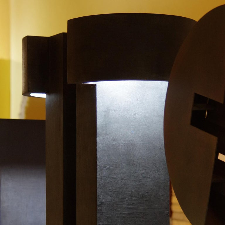 Wood Twin Monolith Light-Sculpture by Giorgio Cubeddu For Sale
