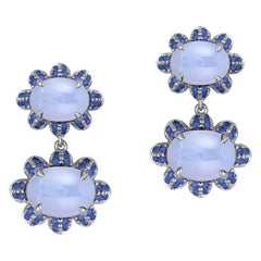 Twin Oval Blue Chalcedony and Sapphire Earrings