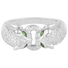 Twin Panther 14 Karat Gold Diamond Peridot Ring