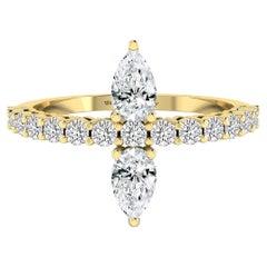 Twin Pear Ring in 18 Karat Yellow Gold