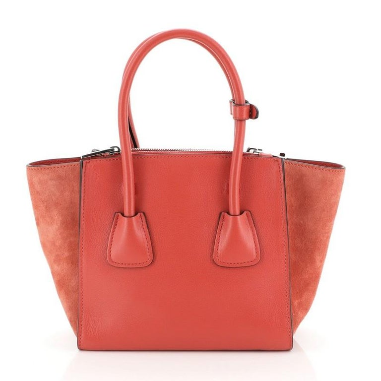 Orange Twin Pocket Tote City Calfskin Mini For Sale