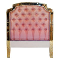 Twin Size Headboard with Tufted Upholstery and Mirrored Trim, circa 1930s