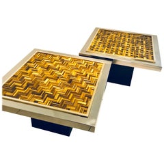 'Twin Tiger' Side Tables in Tiger Eye, Stainless Steel and Brass