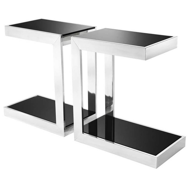 Twins Console Table Set of Two with Black Glass Tops