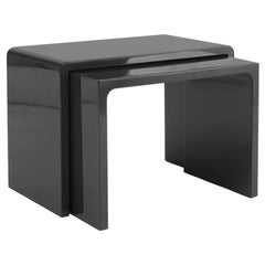 """Twins"" Polished Black Coffee Table Contemporary Design by Giordano Viganò"
