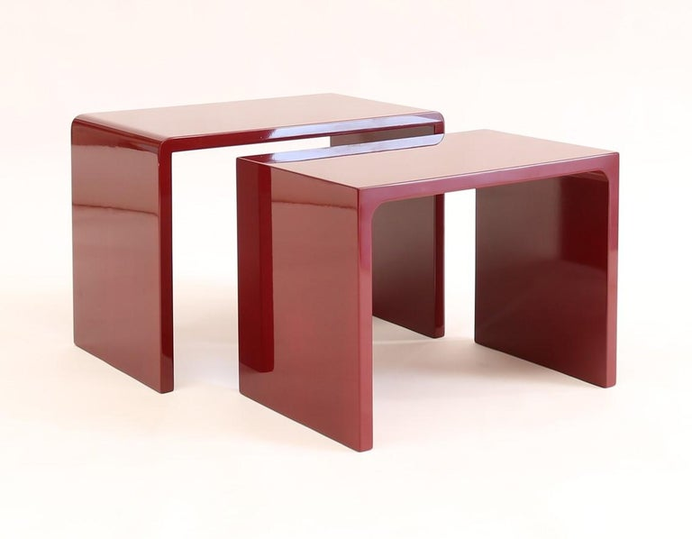 Italian Twins Polished Side Table contemporary design by Giordano Viganò For Sale