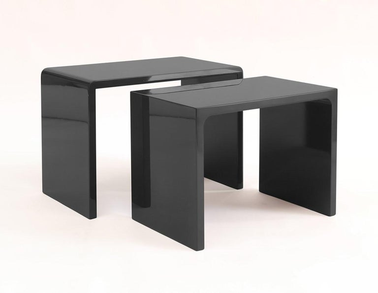 Lacquered Twins Polished Side Table contemporary design by Giordano Viganò For Sale