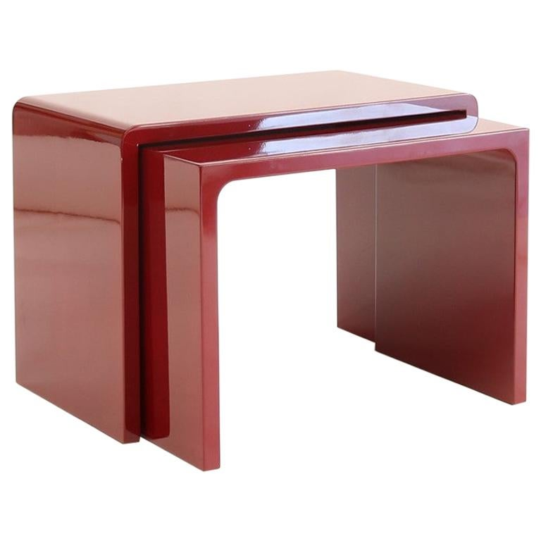 Twins Polished Side Table contemporary design by Giordano Viganò For Sale