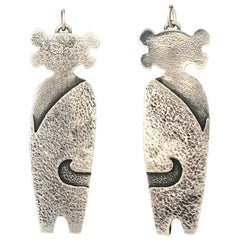 Twins Standing Guard, cast silver earrings Melanie Yazzie Navajo Hopi