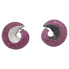 Twirl Non-Identical Ruby White Black Diamond Pavé Gold Clip-On Earrings