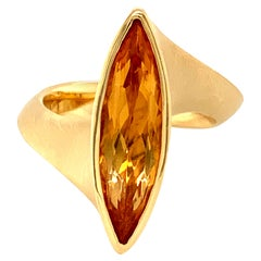 Georg Spreng - Twist Ring 18 Karat Yellow Gold with Citrin Golden Marquise