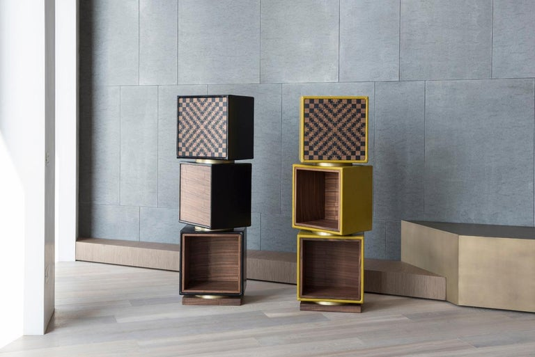 In Twist the modules are stacked one on top of each other to form a column and act as a swivel storage-totem. Enhanced on the back by an element based on the shape of a square, the totem is sure to amaze when observed from a distance: the precious