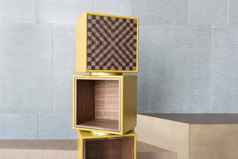 Modern Twist, Swivel Storage with Leather Modules, Wood Inlays and Metallic Accents For Sale