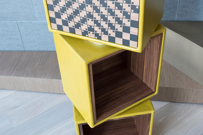 Italian Twist, Swivel Storage with Leather Modules, Wood Inlays and Metallic Accents For Sale