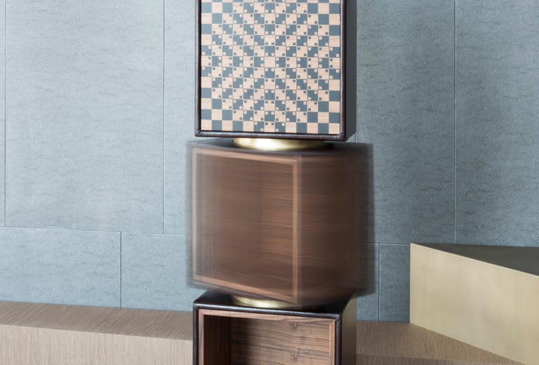 Contemporary Twist, Swivel Storage with Leather Modules, Wood Inlays and Metallic Accents For Sale
