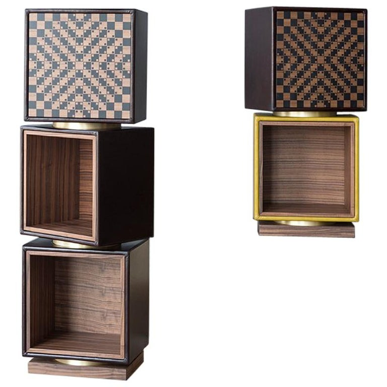 Twist, Swivel Storage with Leather Modules, Wood Inlays and Metallic Accents For Sale