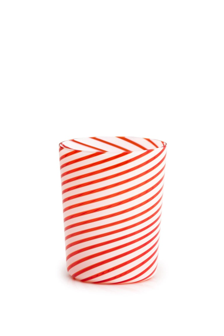 21st Century LPWK TWIST Glasses Murano Glass Various Colors. Twist is the new glass designed by LPWK for Purho. Made of Murano blown glass and characterized by spiral lines that decorate the surface of the glass, Twist is a tumbler with a strong