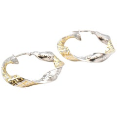 Twisted 18 Karat Two-Tone Gold Hoop Earrings