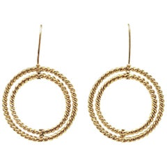 Twisted Braid Revolving Double Circle 14k Yellow Gold French Wire Hook Earrings