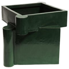 Twisted Castle Contemporary Ceramic Planter in Chrome Green