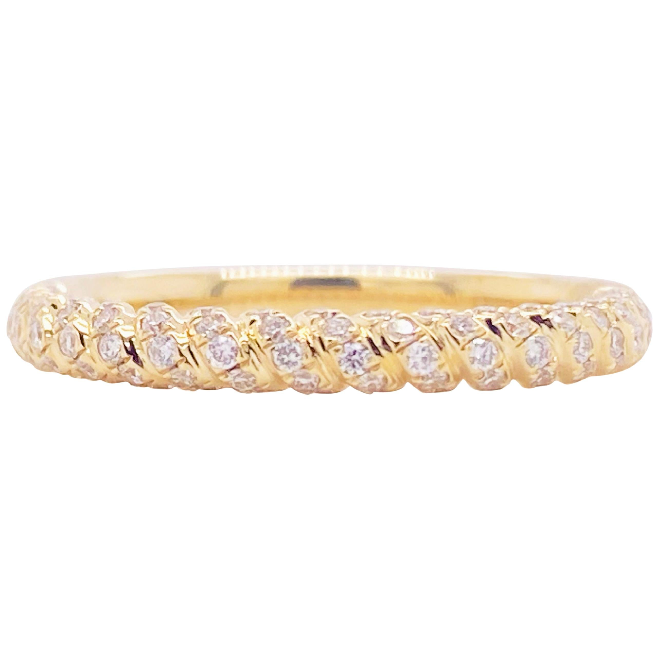 Twisted Diamond Band, 14 Karat Gold, Wedding Band, Twisted Ring, Stackable