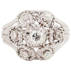 Twisted Diamond Platinum 18 Carat White Gold Retro Ring