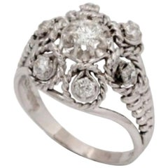 Twisted Diamond Platinum 18 Carat White Gold Retro Ring
