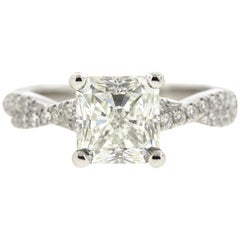 Twisted Double Pave Princess Cut Diamond Engagement Ring (Certified)