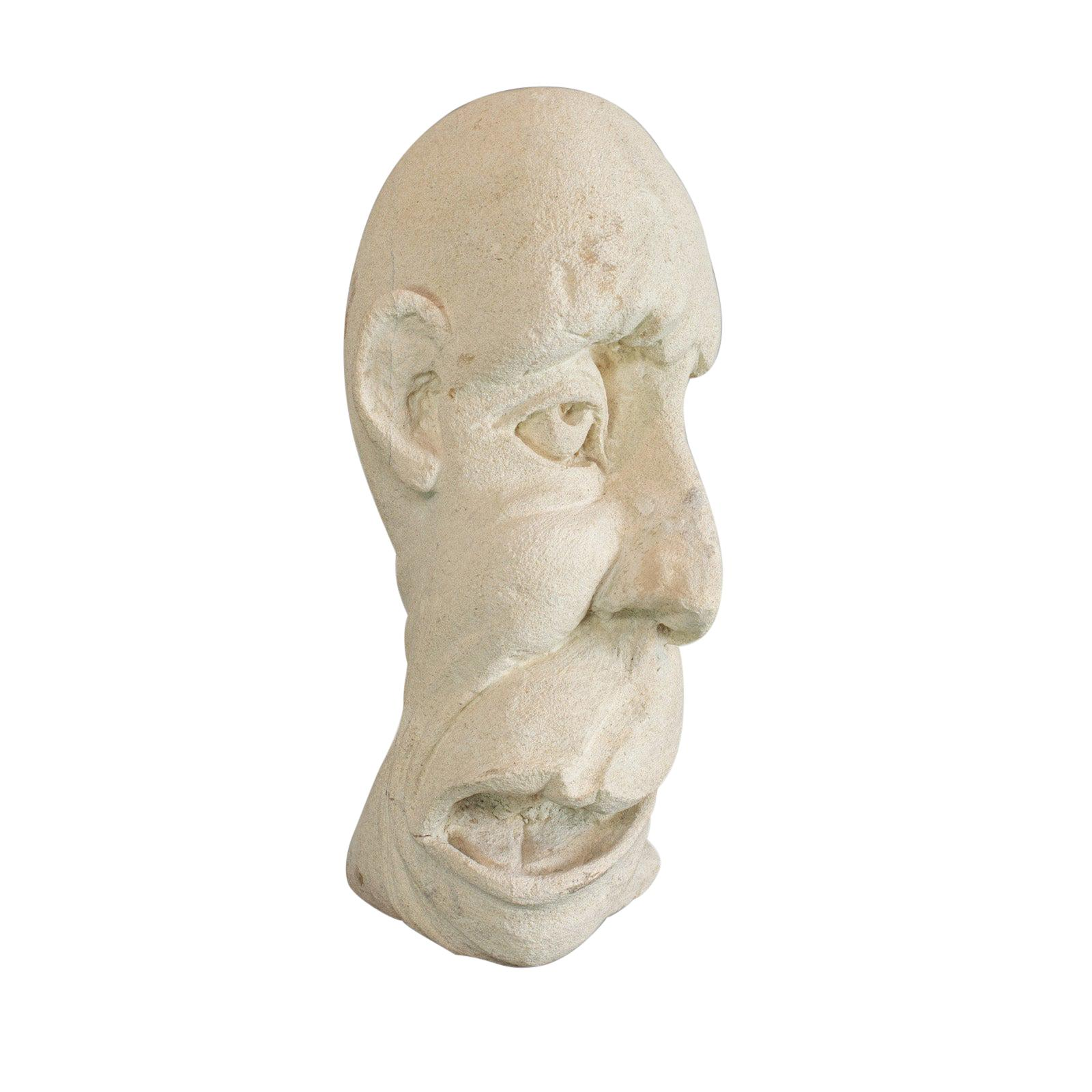 Twisted Face Bust, Dominic Hurley, English, Bath Stone, Sculpture