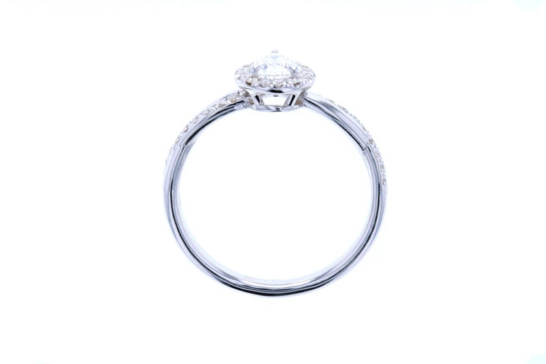 Pear Cut Twisted Pear Shaped Diamond Engagement Ring with Diamond Pave For Sale
