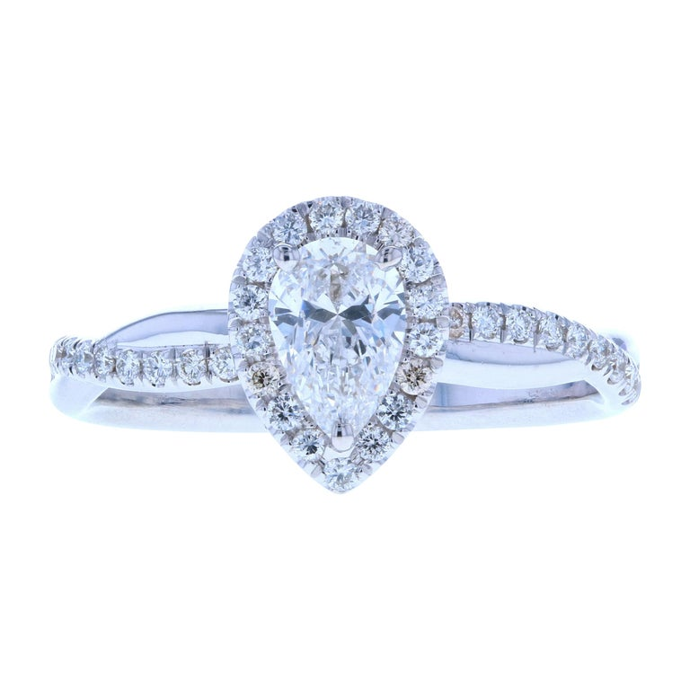 Twisted Pear Shaped Diamond Engagement Ring with Diamond Pave For Sale