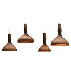 Twisted Pinewood Pendants by Hans-Agnes Jakobsson, Sweden, Circa 1960