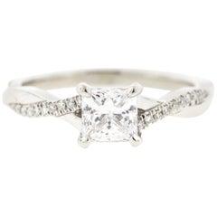 Twisted Princess Cut Diamond Ring '1 Carat, Certified' with Diamond Pave