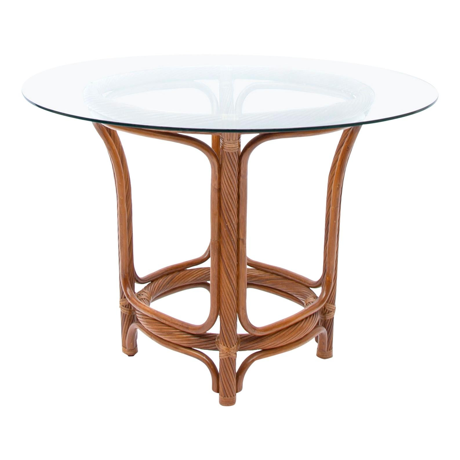 Twisted Rattan McGuire Hollywood Regency Dining Table, 1970s