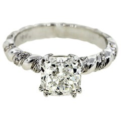 Twisted Rope 2 Carat Cut Cushion Diamond Engagement Ring 'GIA'