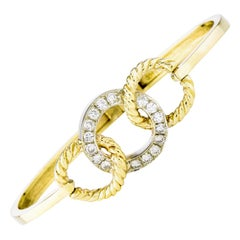 Twisted Rope Diamond Bangle Bracelet Horse Bridle Trinity Intertwined Modernist