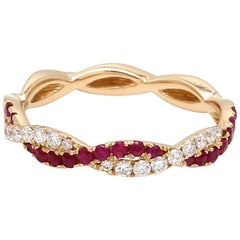 Twisted Ruby and Diamond 18 Karat Yellow Gold Engagement Wedding Band Ring