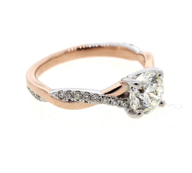a36d027f07d1b6 Modern Twisted White Gold and Rose Gold Diamond Engagement Ring with Pave  (Certified) For