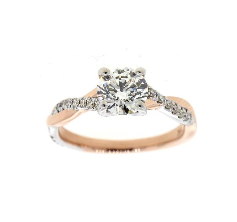 Round Cut Twisted White Gold and Rose Gold Diamond Engagement Ring with Pave (Certified) For Sale
