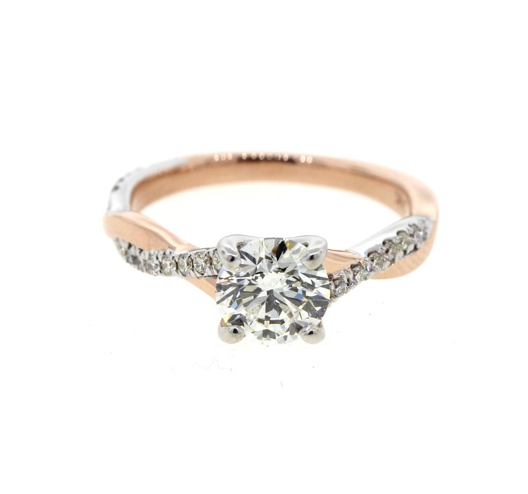 Twisted White Gold and Rose Gold Diamond Engagement Ring with Pave (Certified) For Sale