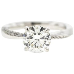 Twisted White Gold Diamond Engagement Ring Round Diamond Certified Center
