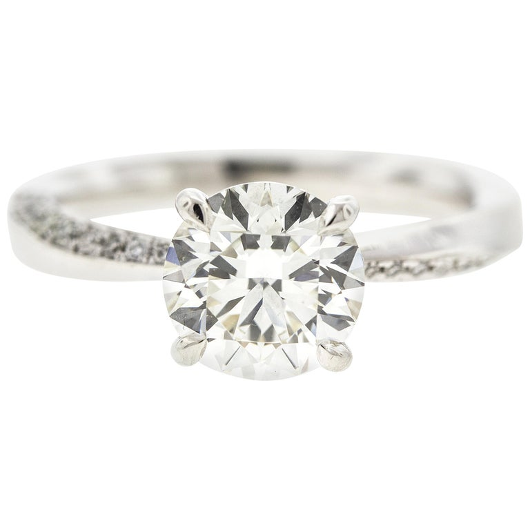 ce90637ed21 Twisted White Gold Diamond Engagement Ring Round Diamond Certified Center  For Sale