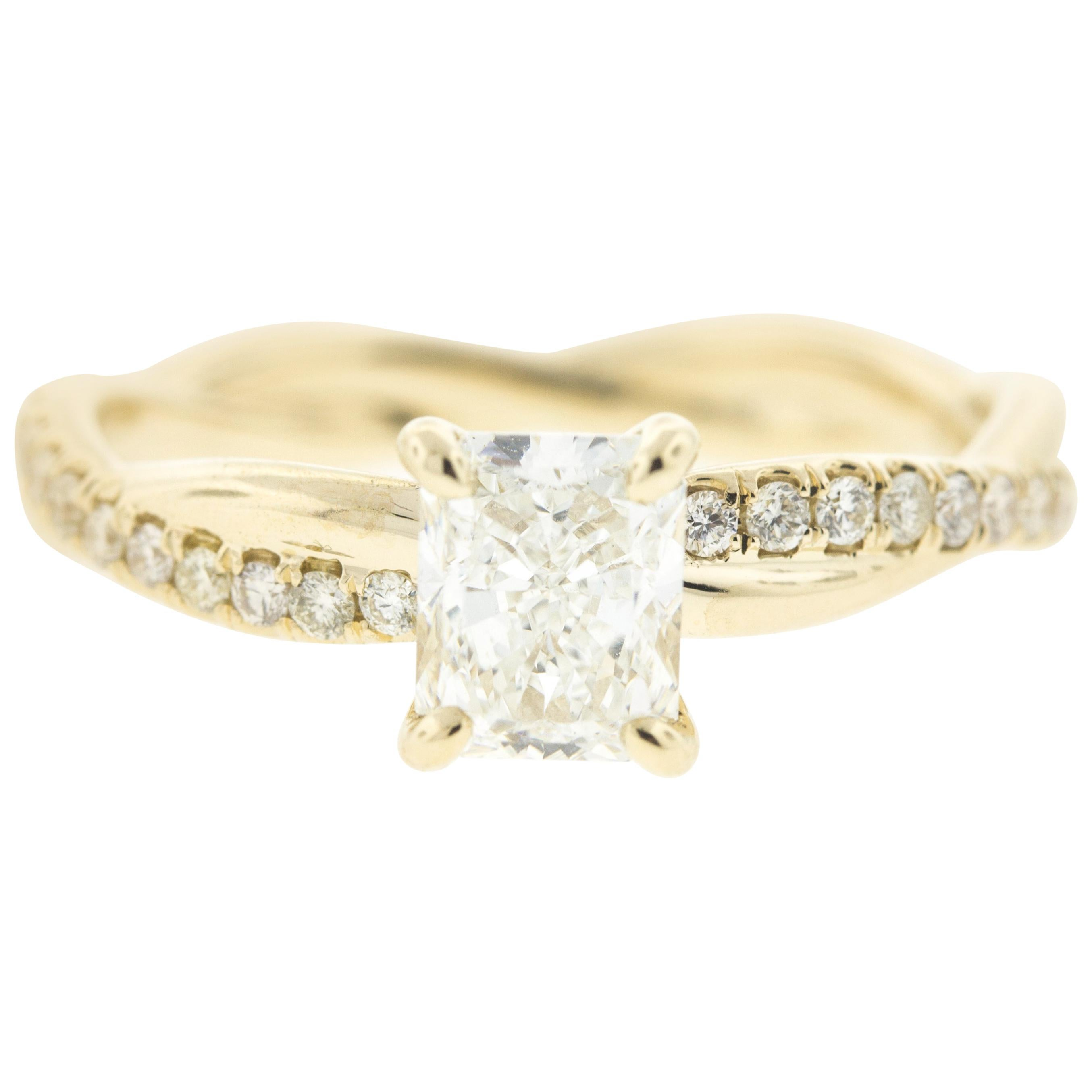 Twisted Yellow Gold Diamond Engagement Ring with Radiant Center Diamond  (1CT)