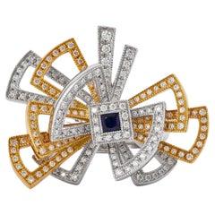 Twister Blue Sapphire & Diamond Ring in 18 Karat White & Yellow Gold