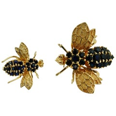 Two 14 Karat Gold and Gem-Set Bee Brooches, Designed as Bees