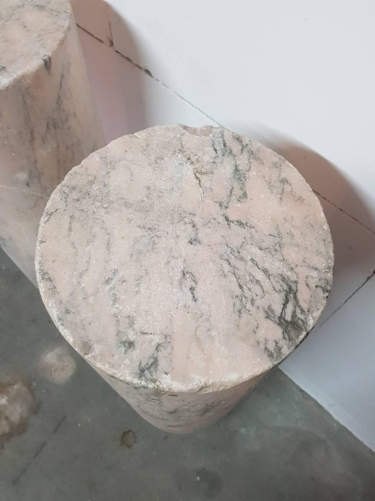 Set of two 18th century French pink marble columns/pillars with grey veins, bought from a well know antique dealer in The Hague Netherlands. They weigh more than 150 kilo each.  The measurements are, Depth 27.5 cm/ 10.8 inch. Width 27.5 cm/